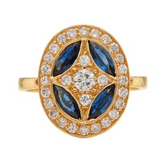 Diamond and Sapphire Deco Style Ring by Salavetti