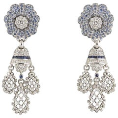 Diamond and Sapphire Dangle Earrings 4.62 carats diamonds 8.82 carat Sapphires