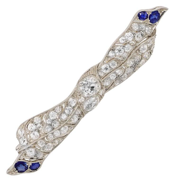 Diamond and Sapphire Edwardian Ribbon Platinum Brooch