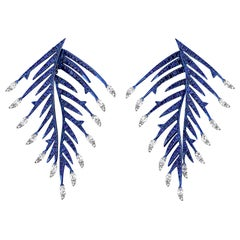 Diamond and Sapphire Feather Earrings