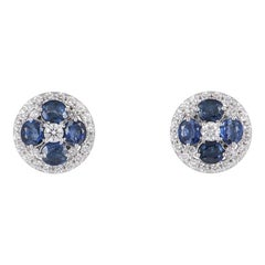 Diamond and Sapphire Floral Earrings