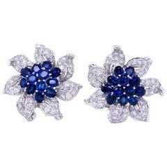 Diamond and Sapphire Flower Earrings