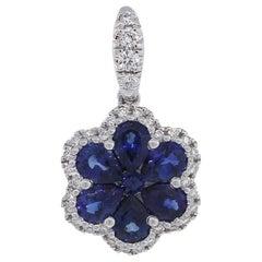 Diamond and Sapphire Flower Pendant