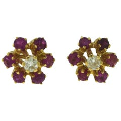 Diamond and Sapphire Flower Yellow Gold Earrings