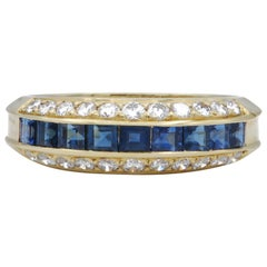 Diamond and Sapphire Gold Band Ring