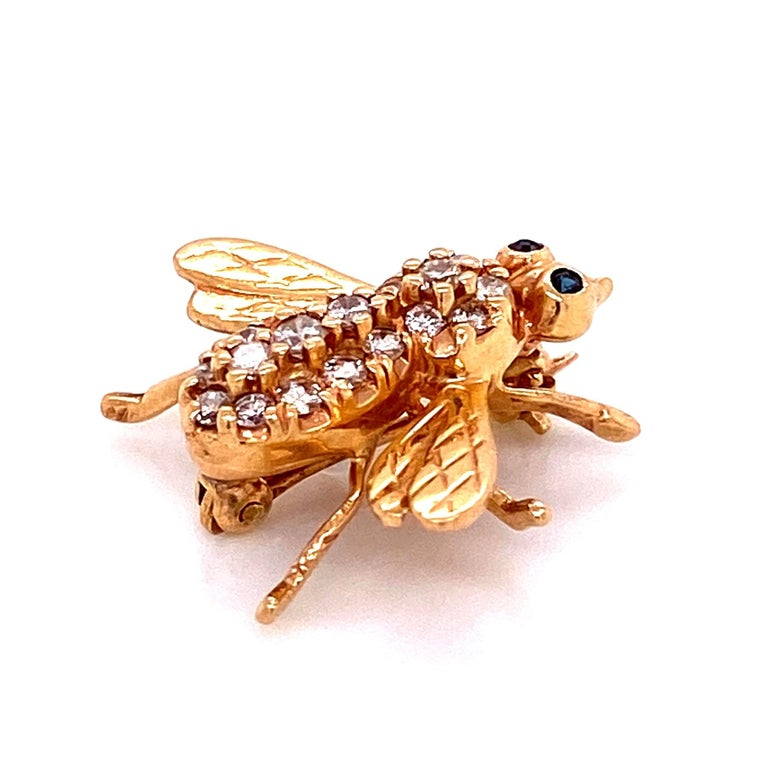 Modernist Diamond and Sapphire Gold Bee Brooch Pin Estate Fine Jewelry For Sale
