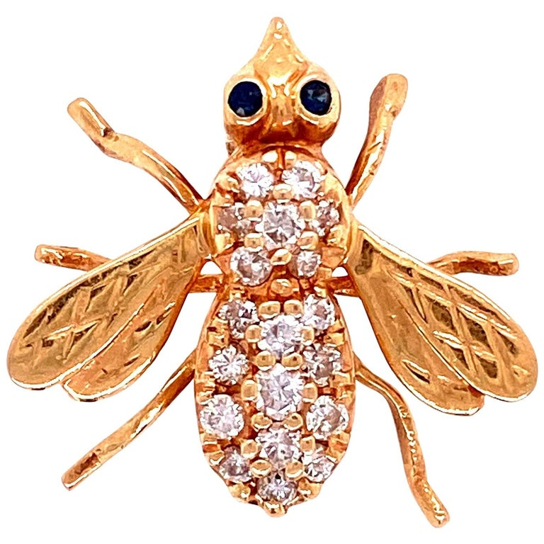 Diamond and Sapphire Gold Bee Brooch Pin Estate Fine Jewelry For Sale