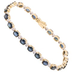 Diamond and Sapphire Gold Line Bracelet