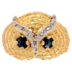 Diamond and Sapphire Gold Owl Ring