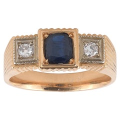 Diamond and Sapphire Gypsy Ring