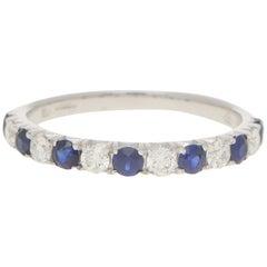 Diamond and Sapphire Half Eternity Ring in 18 Karat White Gold
