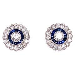 Diamond and Sapphire Halo Platinum Stud Earrings Estate Fine Jewelry