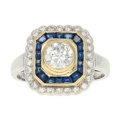 Diamond and Sapphire Halo Ring, 18 Karat White Gold Round Cut 1.75 Carat