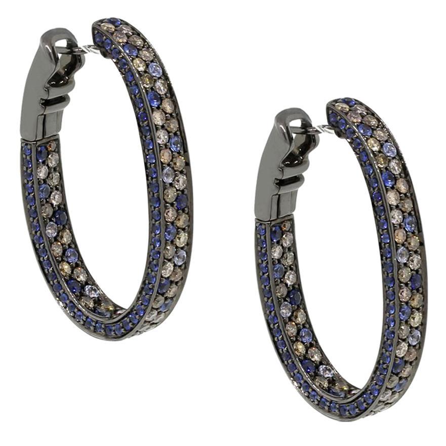 Diamond and Sapphire Inside Out Hoop Earrings