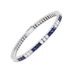 Diamond and Sapphire Line Bracelet in Platinum