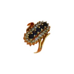 Diamond and Sapphire Long Oval Yellow Gold Ring