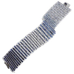 Diamond and Sapphire Ombre' Mesh Tennis Bracelet