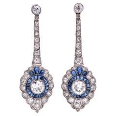 Diamond and Sapphire Platinum Art Deco Revival Drop Earrings Estate Fine Jewelry