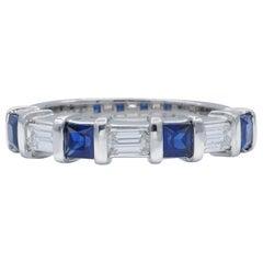 Diamond and Sapphire Platinum Band Ring