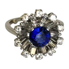 Diamond and Sapphire Platinum Cocktail Ring