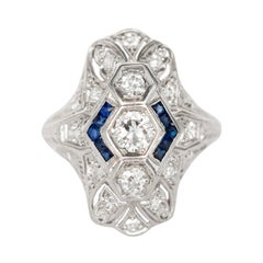 Diamond and Sapphire Platinum Engagement Ring