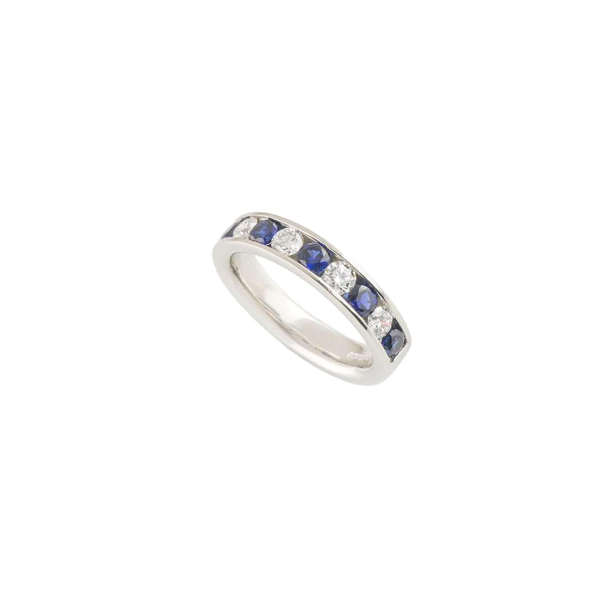 Diamond and Sapphire Platinum Half Eternity Band Ring