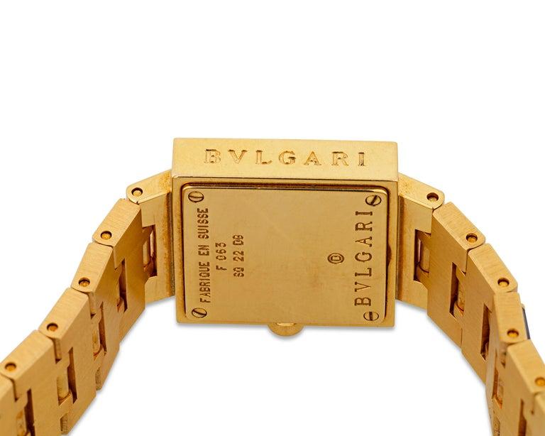 Modern Bulgari  Diamond and Sapphire Quadrato Wristwatch For Sale