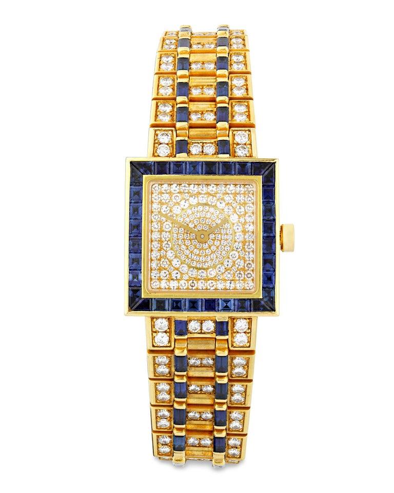 Bulgari  Diamond and Sapphire Quadrato Wristwatch In Excellent Condition For Sale In New Orleans, LA