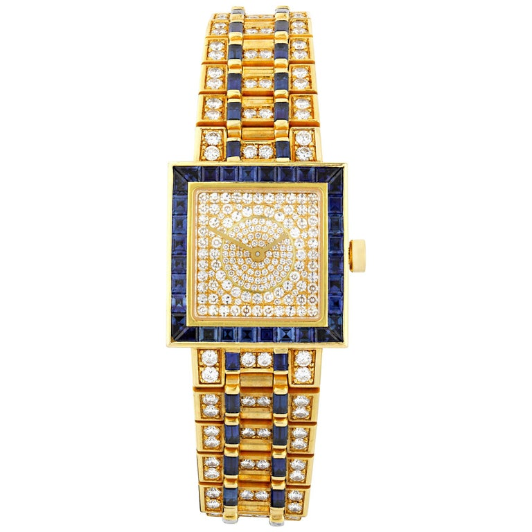 Bulgari  Diamond and Sapphire Quadrato Wristwatch For Sale