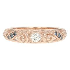 Diamond and Sapphire Ring, 14 Karat Rose Gold Milgrain Round Cut .30 Carat