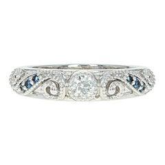 Diamond and Sapphire Ring, 14 Karat White Gold Band Round Cut .32 Carat