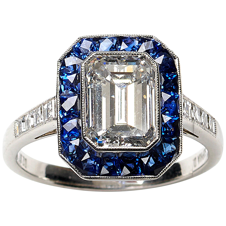 Diamond and Sapphire Ring 2.01 Carat F VS2