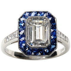 Diamond and Sapphire Ring 2.01 Carat F VS2