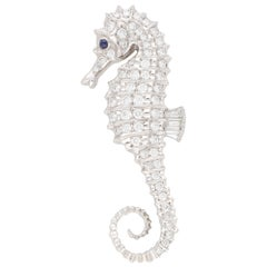 Diamond and Sapphire Seahorse Pin Brooch Set in Platinum