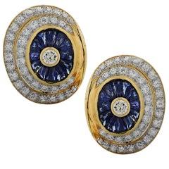 Diamond and Sapphire Spiral Earrings
