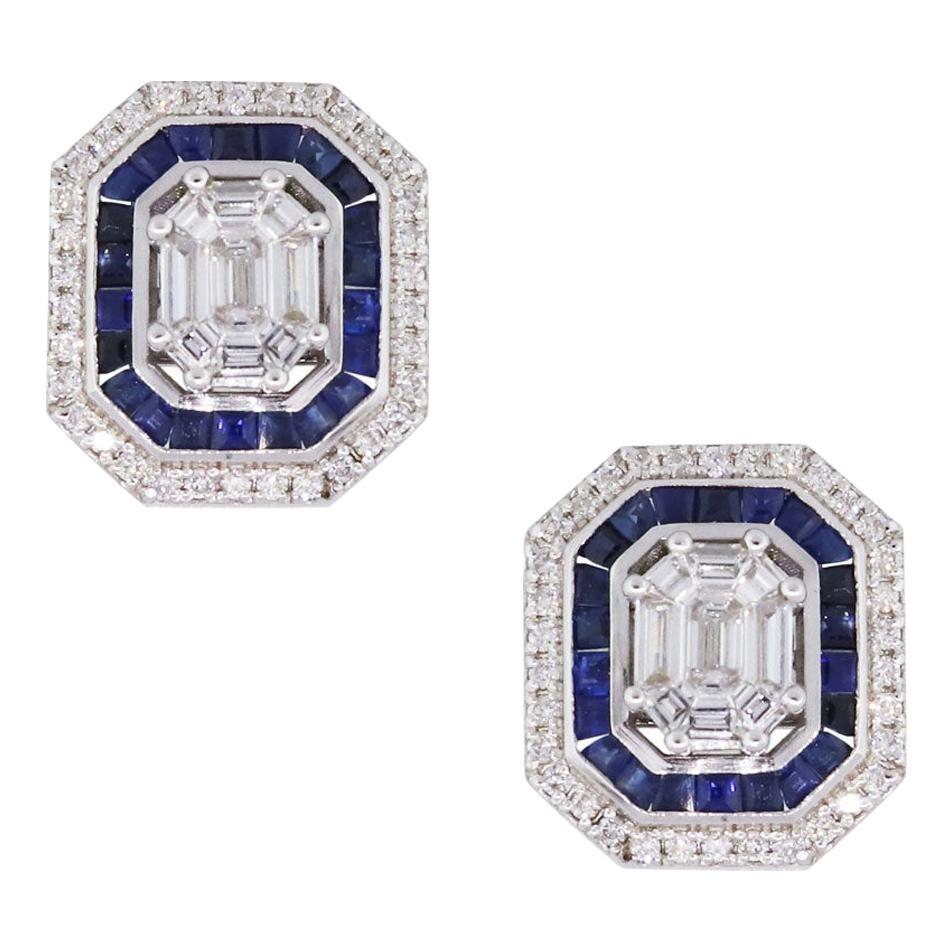 Diamond and Sapphire Stud Earrings