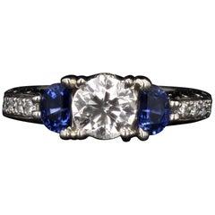 Diamond and Sapphire Three-Stone Engagement Ring