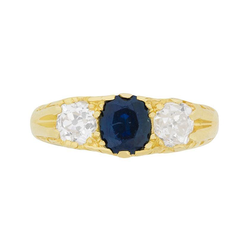 Diamond and Sapphire Three Stone Ring, circa 1930s