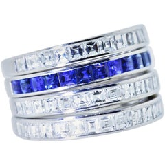 Diamond and Sapphire Vintage 4 Matching Bands, circa 1930