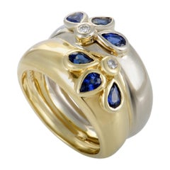Diamond and Sapphire Yellow and White Gold Double Band Ring