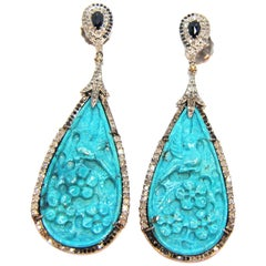 Diamond and Sapphires Bird Turquoise 18 Karat Gold and Silver Chandelier Earring