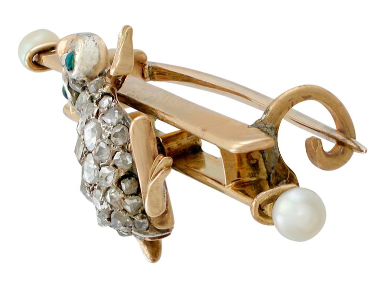 Victorian Diamond and Seed Pearl Imitation Gemstone and Yellow Gold Frog Bar Brooch For Sale