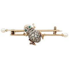 Diamond and Seed Pearl Imitation Gemstone and Yellow Gold Frog Bar Brooch