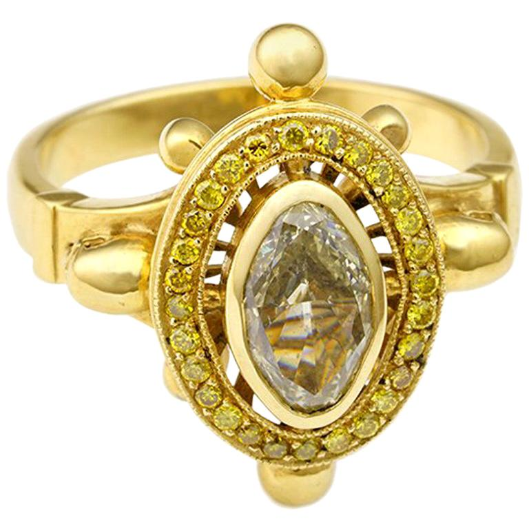 Diamond and Skulls Victorian Gothic Ring For Sale