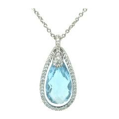Diamond and Sky Blue Pear Topaz Pendant 18k White Gold