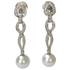 Diamond and South Sea Pearl Earrings in 18k White Gold