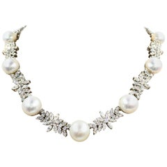 Diamond and South Sea Pearl Platinum Necklace 16.76 Carat Total Weight