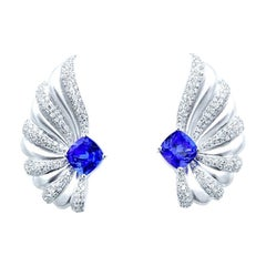 Diamond and Tanzanite Cushion Earrings 18 Karat White Gold