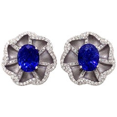 Diamond and Tanzanite Earrings in 18 Karat White Gold