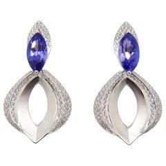 Diamond and Tanzanite Earrings in 18 Karat White Gold